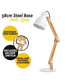 58cm Table Desk Nightstand Lamp Light Wood Frame and Steel Base Bedside Modern