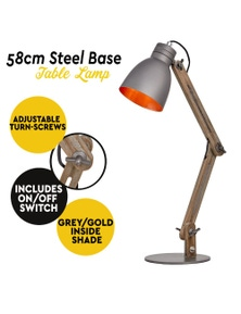 Havana Table Desk Lamp Wood Frame & Steel Base Bedside Nightstand Light - Grey/Gold