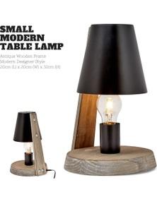 32cm Antique Timber Base Modern Desk Table Lamp Metal Shade Designer - Black