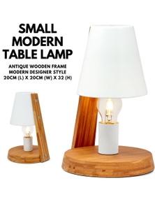 32cm Antique Timber Base Modern Desk Table Lamp Metal Shade Designer - White