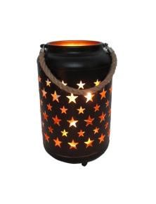 25cm Metal LED Lantern Light w Rope Hanger Star Design Lamp - Large