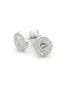 Georgini White Cz Round Earring Silver