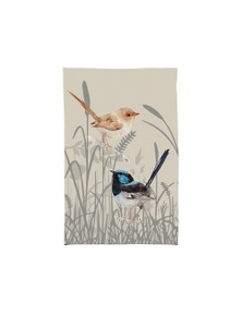 The Linen Press - Tea Towel Microfibre - Grasslands Blue Wren Two