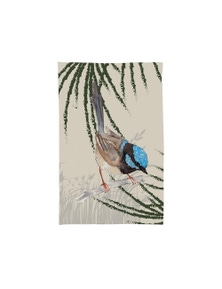 The Linen Press - Tea Towel Microfibre - Grasslands Blue Wren Single