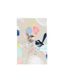 The Linen Press - Tea Towel Microfibre - Pastel Wild Wren Two