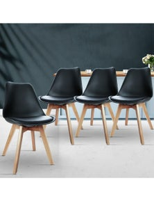 Artiss 4x Padded Retro Replica Eames DSW Dining Chairs Cafe Chair Kitchen Black