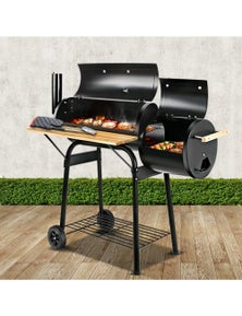 2-in-1 Charcoal Smoker BBQ Grill Roaster Portable Outdoor Barbecue
