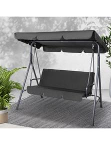Gardeon Outdoor Furniture Swing Chair Hammock 3 Seater Bench Seat Canopy Black