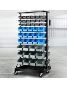 Giantz 90 Bins Storage Rack Warehouse Work Garage Tools Parts Shelving Wheels