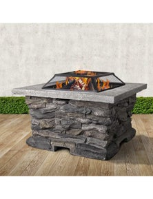Fire Pit Table Stone Base Outdoor Patio BBQ Wood Fireplace Heater