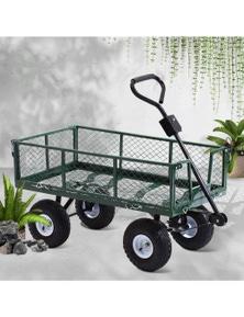 400kg Mesh Garden Cart Steel Removable Sides Trolley Wagon ATV Trailer Balck Gardeon