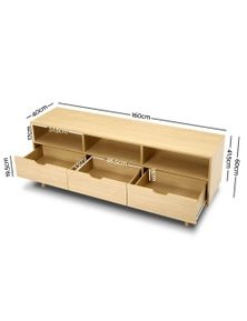 TV Cabinet Entertainment Unit Stand Storage Wooden Scandinavian
