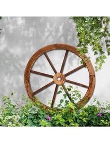 Large Wooden Wagon Wheel Rustic Outdoor Garden Decor Indoor Wall Feature