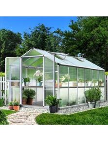 3.7x2.5M Aluminium Greenhouse Polycarbonate Garden Shed Green House