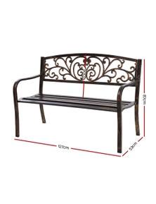 Gardeon Garden Bench Seat Steel Iron Outdoor Lounge Chair Patio Bronze