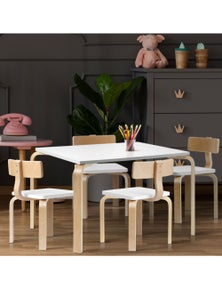 Keezi 5PCS Childrens Table and Chairs Set Kids Furniture Toy Dining White Desk