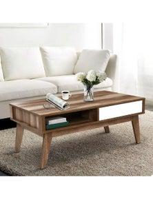 Coffee Table 2 Storage Drawers Open Shelf Scandinavian Wooden White