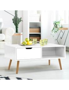 Artiss Coffee Table Storage Drawer Open Shelf Wooden Legs Scandinavian White