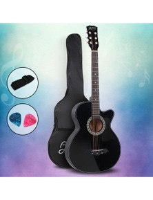 Alpha Guitar Acoustic Guitar 38 Inch Black