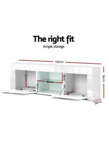 Artiss 130cm TV Cabinet Entertainment Unit Stand High Gloss Storage Shelf White