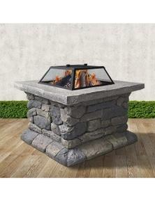 Grillz Fire Pit Outdoor Table Charcoal Garden Fireplace Backyard Firepit Heater