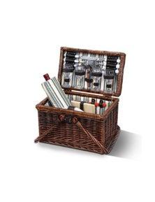 Deluxe 4 Person Picnic Basket Set Folding Outdoor Insulated Liquor Bag