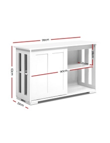 Buffet Sideboard Cabinet White Doors Storage Shelf Cupboard Hallway Table