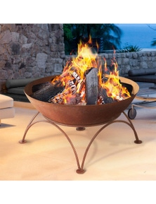 Rustic Fire Pit Wood Burner Iron Bowl Outdoor Patio Large Fireplace