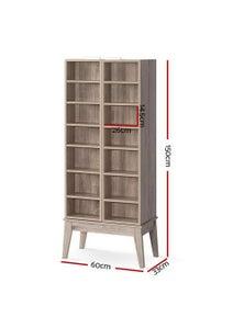 CD/DVD Media Storage Display Shelf Cabinet Rack Bookshelf Bluray Oak