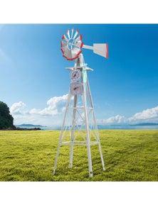 Garden Windmill 6FT 180cm Metal Ornaments Outdoor Decor Ornamental Wind Will
