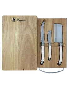 Laguiole By Louis Thiers 3-Piece Cheese Set With Cheese Board