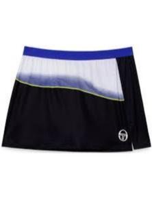Sergio Tacchini Women's Grid-Coast Open Skirt Tennis Sport - Black/Blue/White