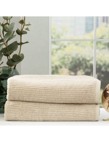Renee Taylor Cobblestone 650 GSM Cotton Ribbed Towel Packs 2pc BS