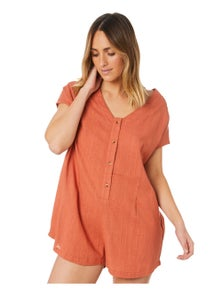 Swell Women's Pacifico Playsuit V-Neck Short Sleeve Cotton