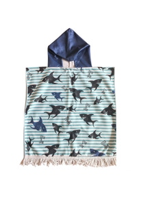 Good Vibes Sharky Kids Hooded Beach Towel With Tassels