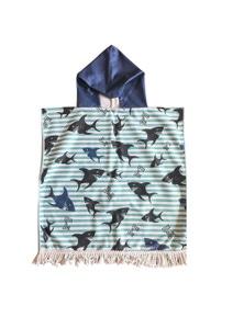 Good Vibes Sharky Kids Hooded Beach Towel With Tassels