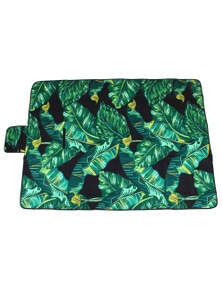 Good Vibes Leaf Pvc Backed Printed Picnic Rug