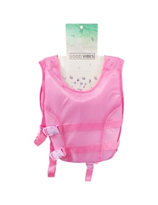 Good Vibes Pink 3-5 Years Kids Swim Vest With Anti Rise Strap