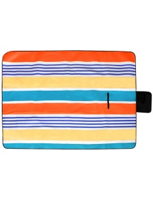 Good Vibes Retro Stripe Pvc Backed Printed Picnic Rug