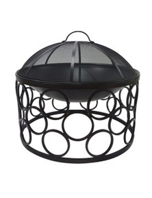 Wildtrak OUTDOOR FIRE BOWL ROUND WITH COVER BLACK CLR IRON