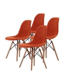 La Bella High Quality Fabric Orange Eames DSW Dining Chair (4 Pcs)