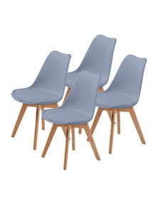 La Bella Eames PU Padded Dining Chairs (Set Of 4)