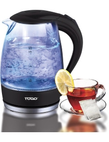TODO 1.7L Glass Cordless Kettle 2200W Blue LED Light Kitchen Water Jug - Black