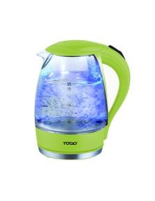 TODO 1.7L Glass Cordless Kettle 2200W Blue LED Light Kitchen Water Jug - Green