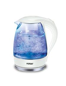 TODO 1.7L Glass Cordless Kettle 2200W Blue LED Light Kitchen Water Jug - White