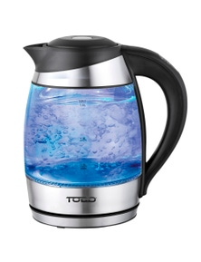 TODO 1.8L Temperature Control Glass Cordless Kettle 2200W LED Water Jug - Black