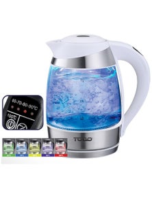 TODO 1.8L Glass Cordless Kettle Electric Blue LED Light Keep Warm 360 Jug - White