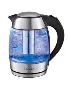 TODO 1.8L Glass and Stainless Steel Cordless Kettle 2200W - Black