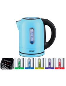 TODO 1.7L Stainless Steel Cordless Kettle Keep Warm Electric LED Water Jug - Blue