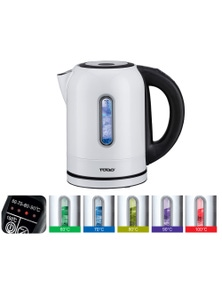 TODO 1.7L Stainless Steel Cordless Kettle Keep Warm Electric LED Water Jug - White
